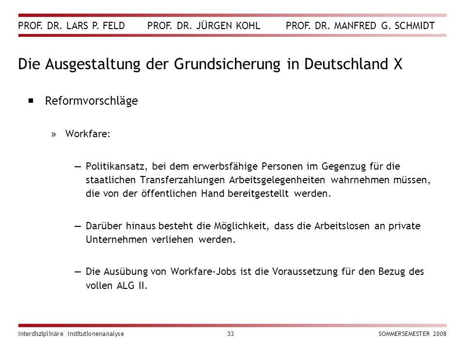 Die Ausgestaltung der Grundsicherung in Deutschland X