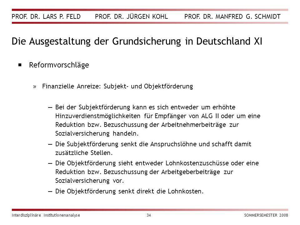 Die Ausgestaltung der Grundsicherung in Deutschland XI