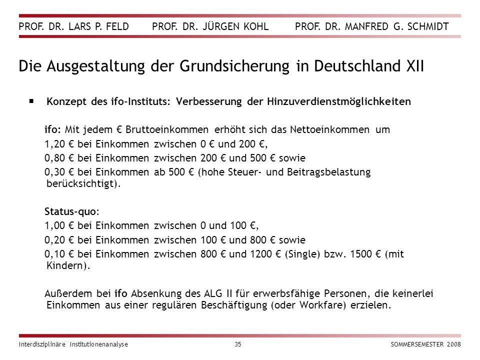Die Ausgestaltung der Grundsicherung in Deutschland XII