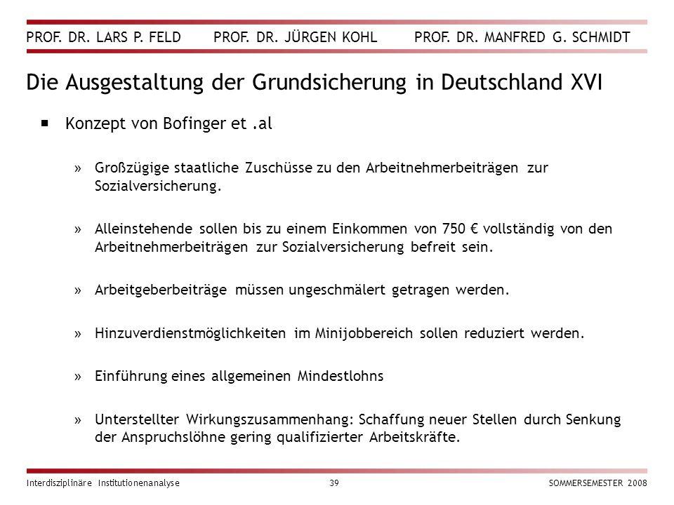 Die Ausgestaltung der Grundsicherung in Deutschland XVI