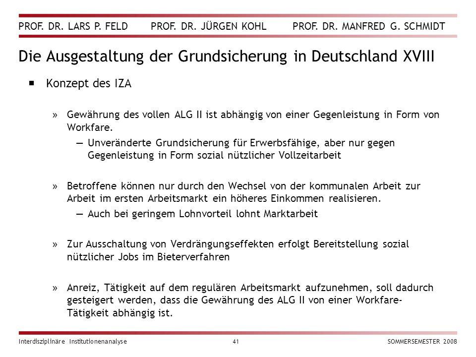Die Ausgestaltung der Grundsicherung in Deutschland XVIII