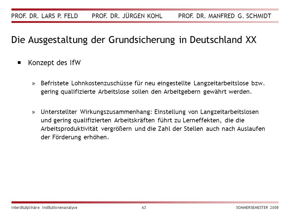Die Ausgestaltung der Grundsicherung in Deutschland XX