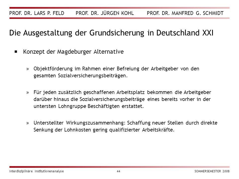 Die Ausgestaltung der Grundsicherung in Deutschland XXI