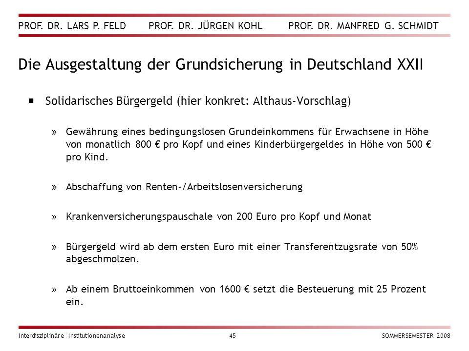 Die Ausgestaltung der Grundsicherung in Deutschland XXII