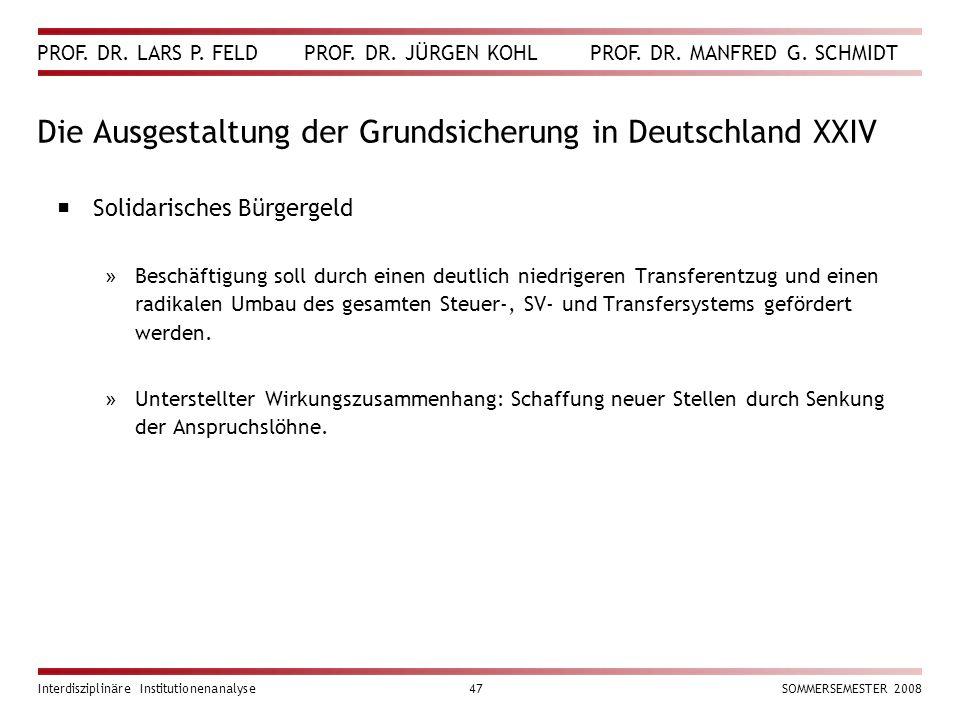 Die Ausgestaltung der Grundsicherung in Deutschland XXIV