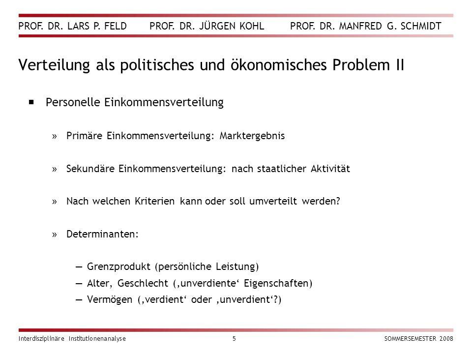 Verteilung als politisches und ökonomisches Problem II