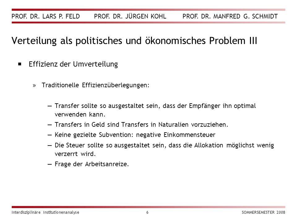 Verteilung als politisches und ökonomisches Problem III