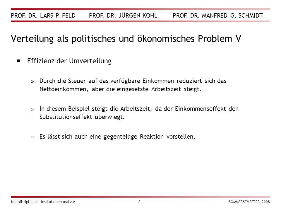 Verteilung als politisches und ökonomisches Problem V