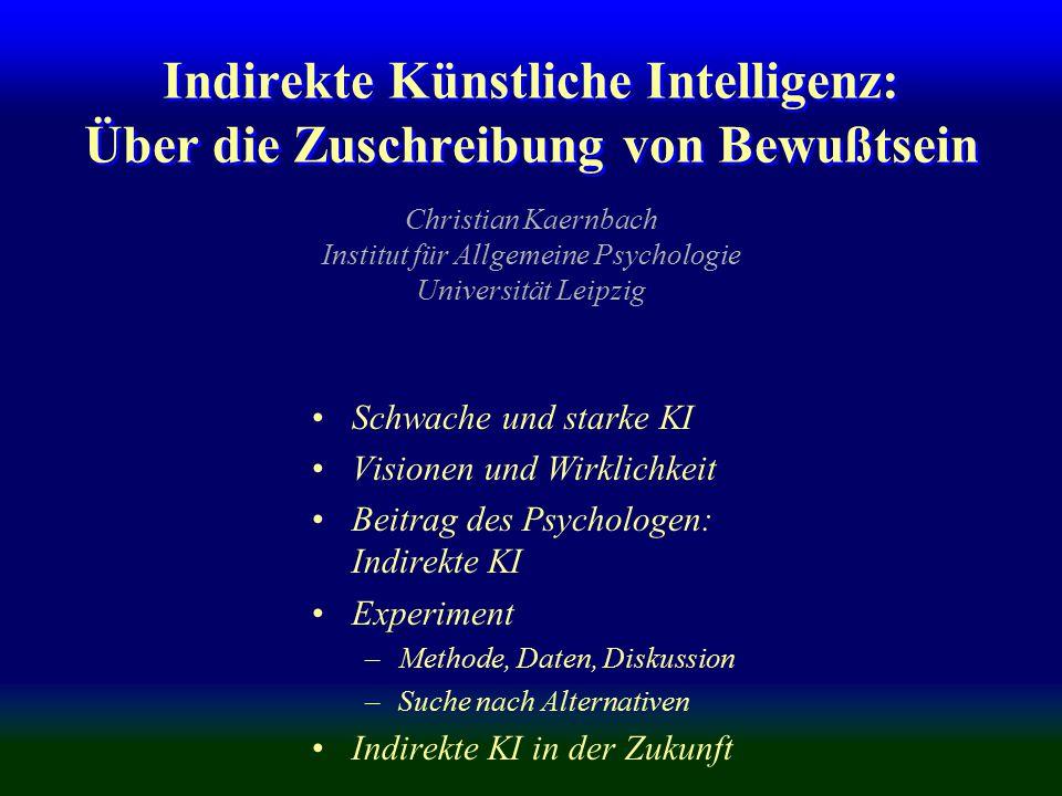 Indirekte Künstliche Intelligenz: Über die Zuschreibung von Bewußtsein