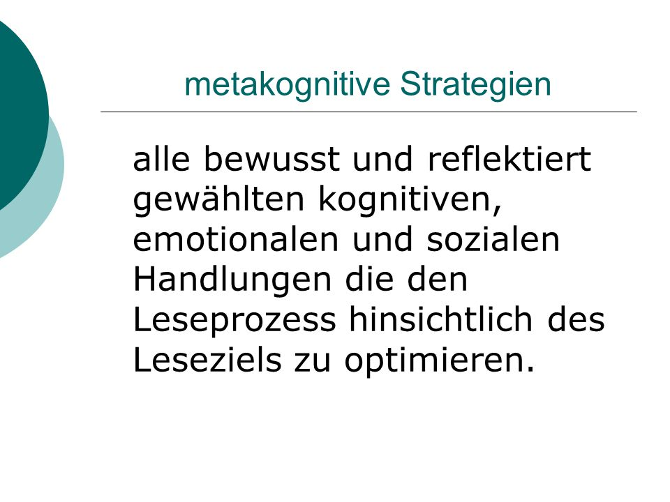 metakognitive Strategien