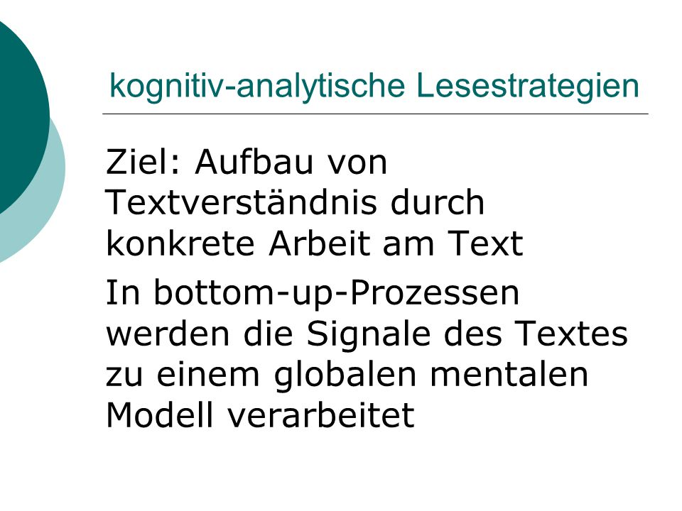 kognitiv-analytische Lesestrategien