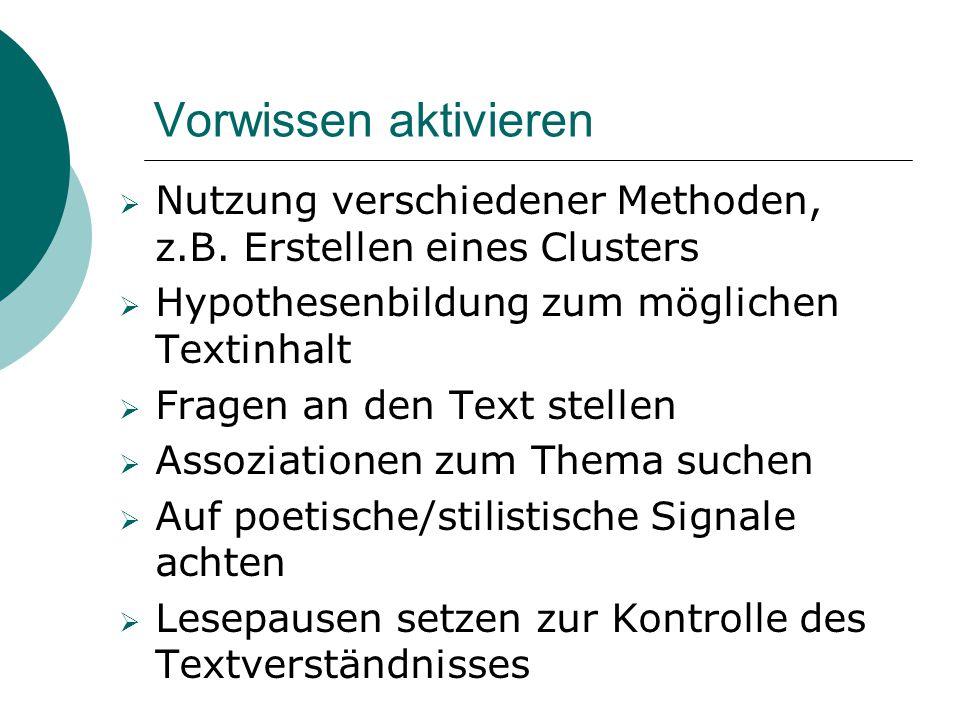 Vorwissen aktivieren Nutzung verschiedener Methoden, z.B. Erstellen eines Clusters. Hypothesenbildung zum möglichen Textinhalt.