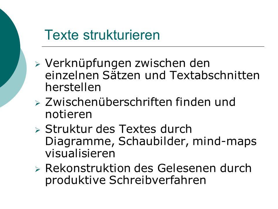 Texte strukturieren Verknüpfungen zwischen den einzelnen Sätzen und Textabschnitten herstellen. Zwischenüberschriften finden und notieren.