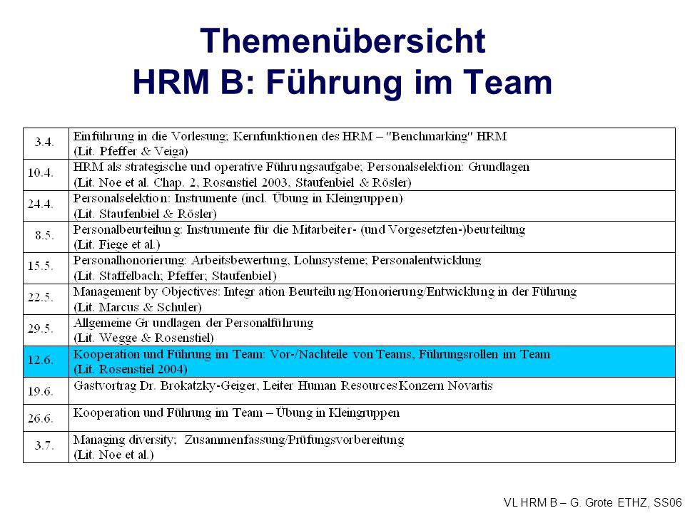 Themenübersicht HRM B: Führung im Team