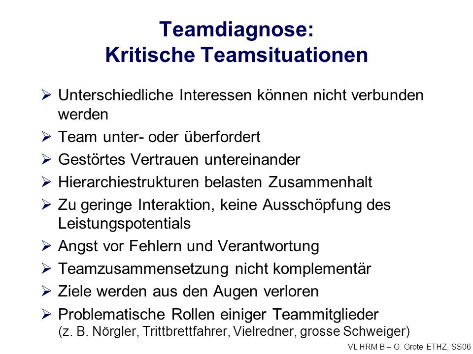 Teamdiagnose: Kritische Teamsituationen