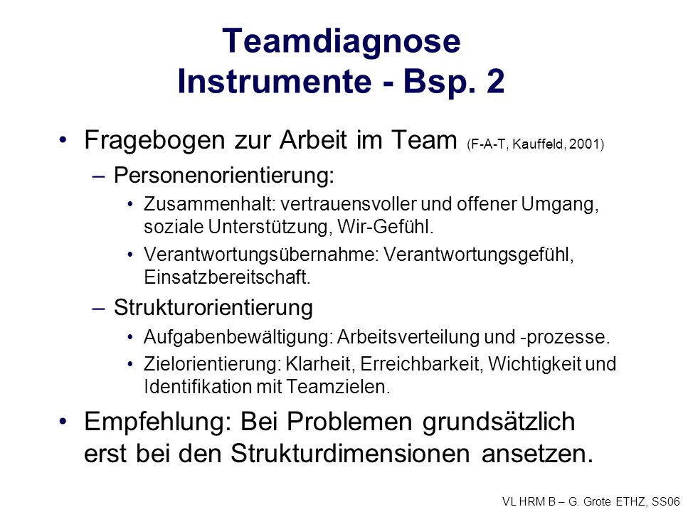 Teamdiagnose Instrumente - Bsp. 2