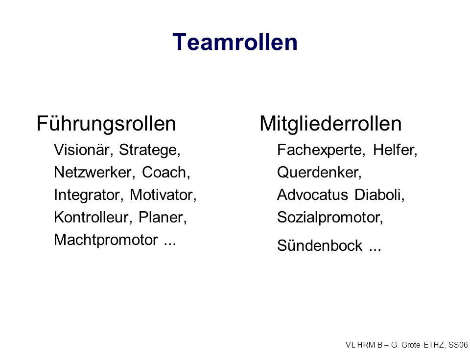 Teamrollen Führungsrollen Visionär, Stratege, Netzwerker, Coach, Integrator, Motivator, Kontrolleur, Planer, Machtpromotor ...