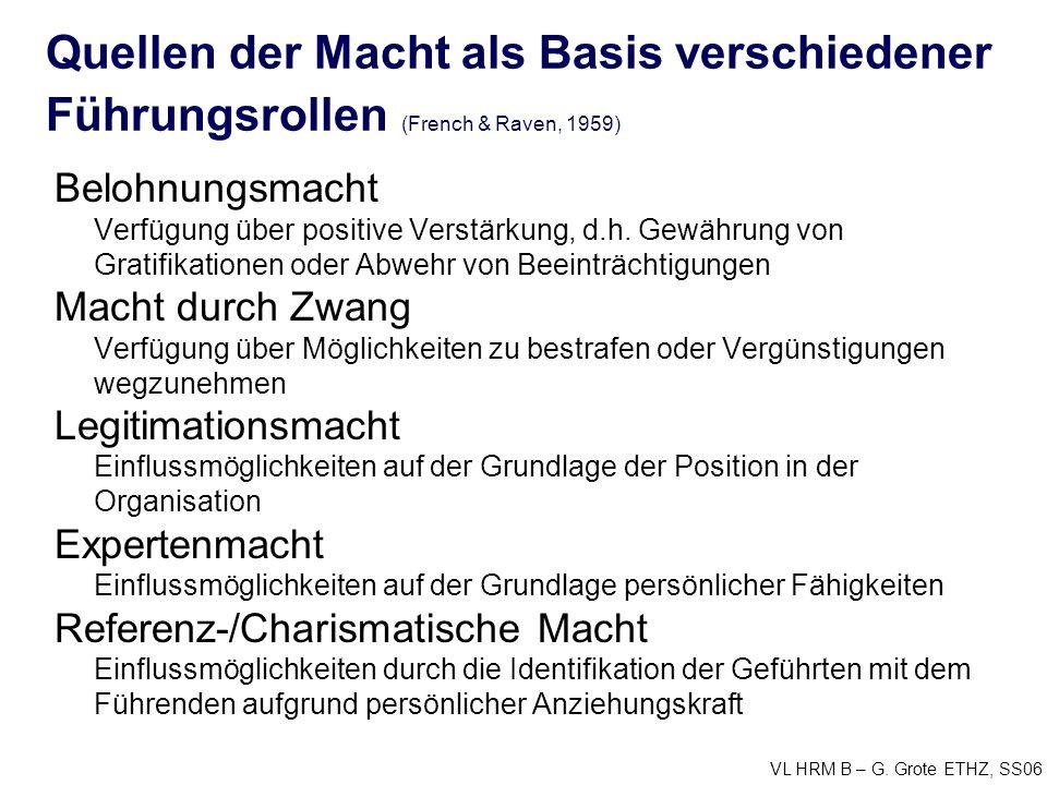 Quellen der Macht als Basis verschiedener Führungsrollen (French & Raven, 1959)