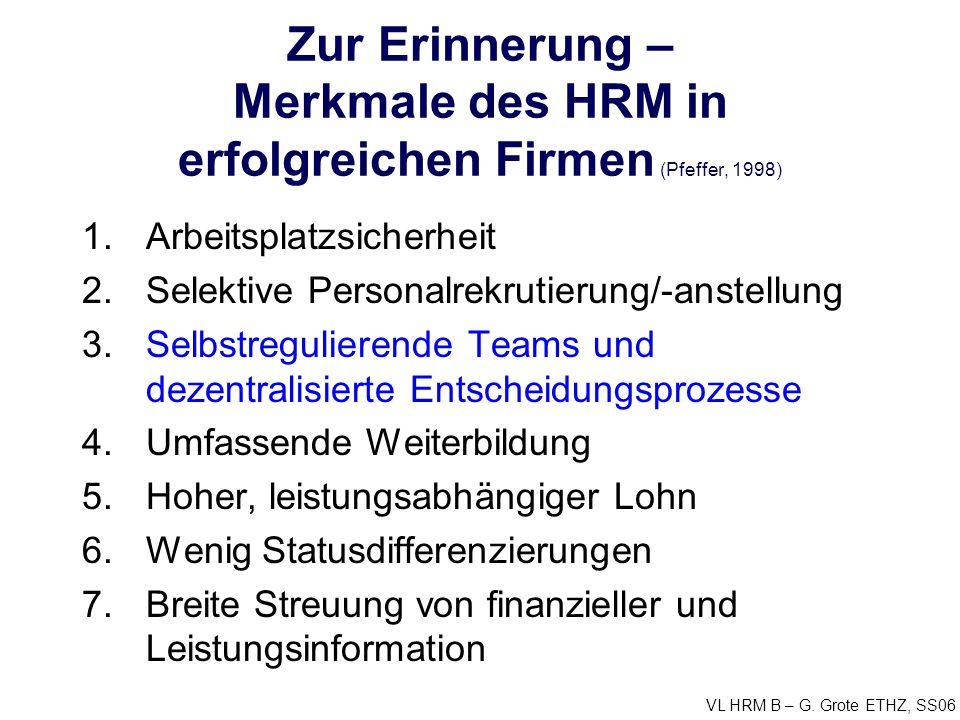 Zur Erinnerung – Merkmale des HRM in erfolgreichen Firmen (Pfeffer, 1998)