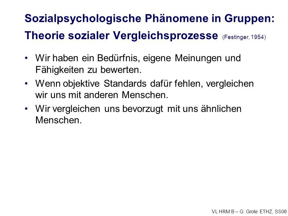 Sozialpsychologische Phänomene in Gruppen: Theorie sozialer Vergleichsprozesse (Festinger, 1954)