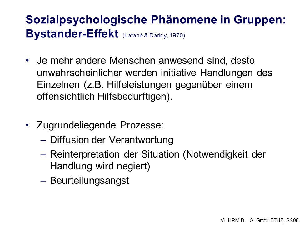 Sozialpsychologische Phänomene in Gruppen: Bystander-Effekt (Latané & Darley, 1970)