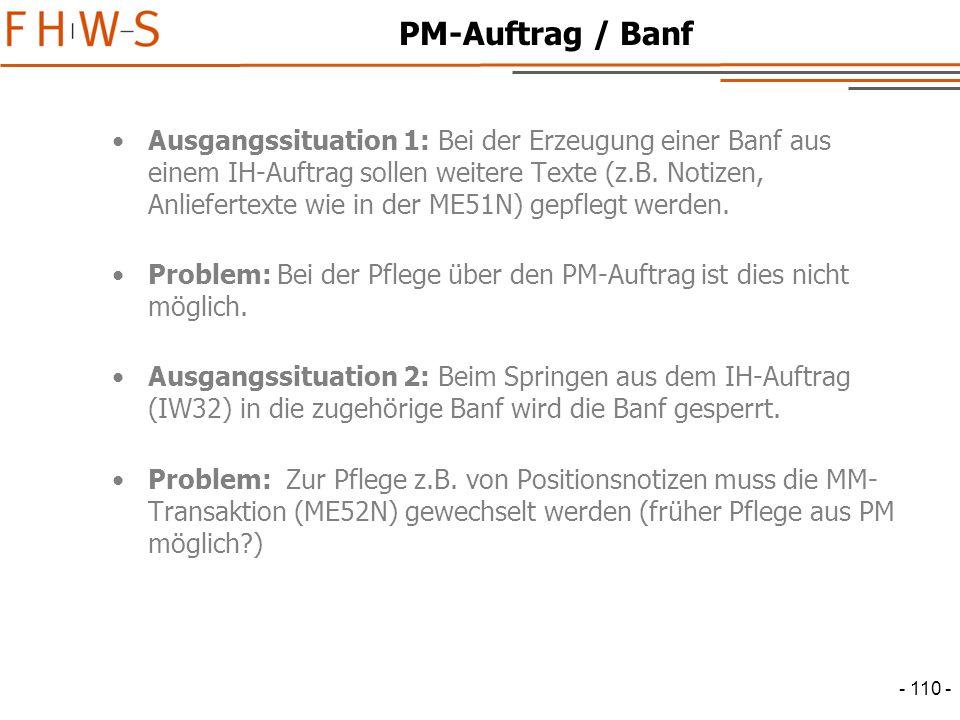 PM-Auftrag / Banf