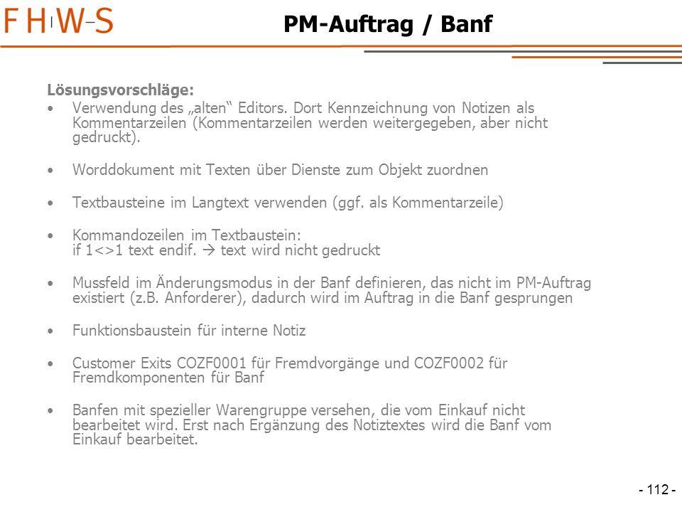 PM-Auftrag / Banf Lösungsvorschläge: