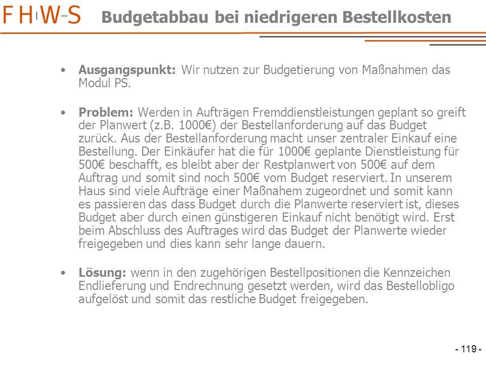 Budgetabbau bei niedrigeren Bestellkosten