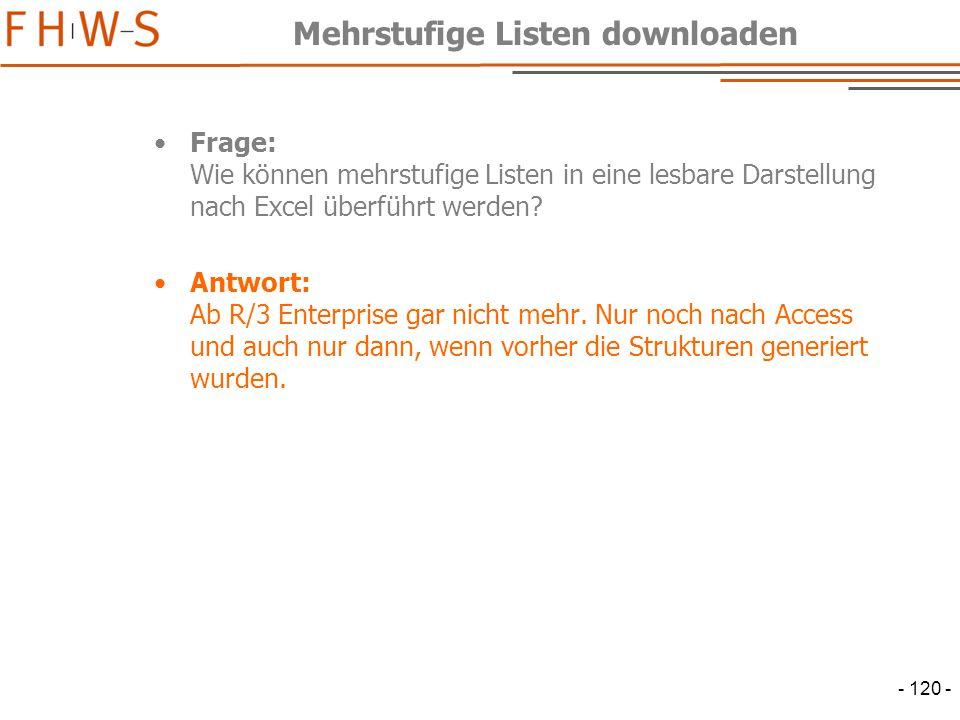 Mehrstufige Listen downloaden