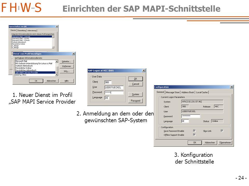 Einrichten der SAP MAPI-Schnittstelle