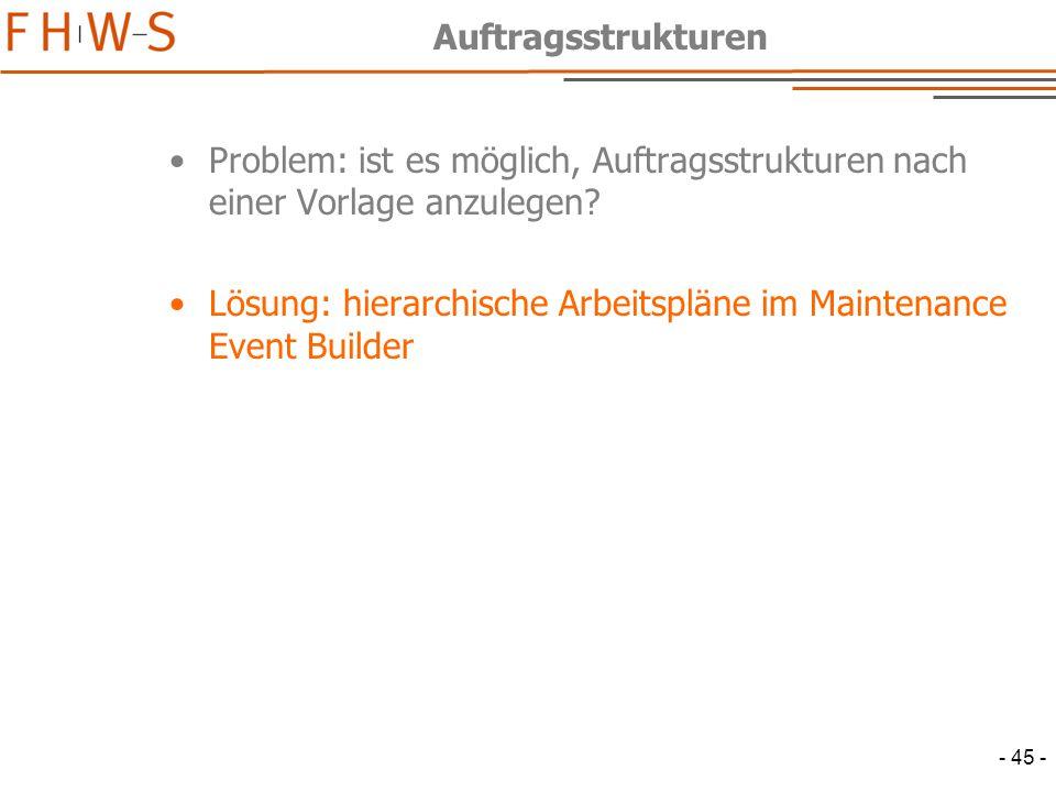 Auftragsstrukturen Problem: ist es möglich, Auftragsstrukturen nach einer Vorlage anzulegen