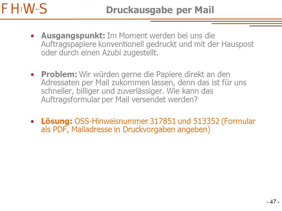 Druckausgabe per Mail