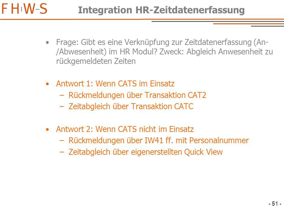 Integration HR-Zeitdatenerfassung