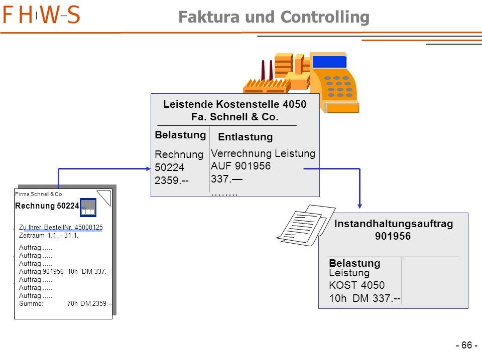 Faktura und Controlling