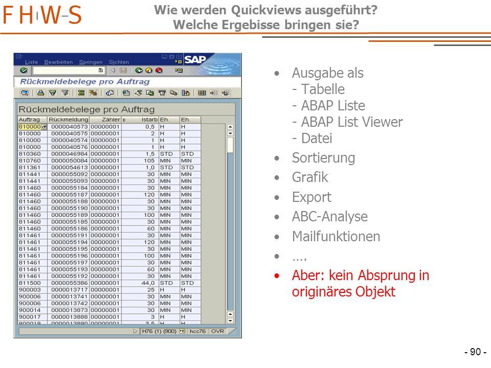 Wie werden Quickviews ausgeführt Welche Ergebisse bringen sie