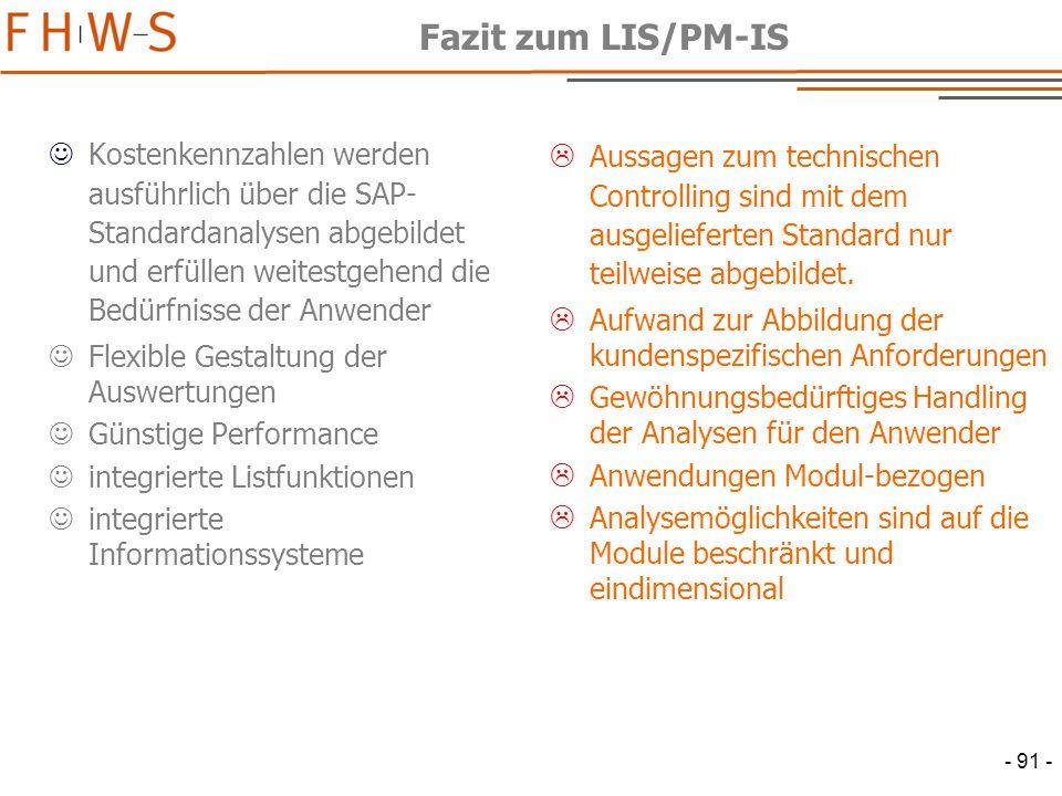 Fazit zum LIS/PM-IS