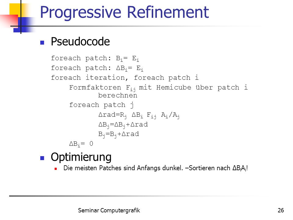 Progressive Refinement