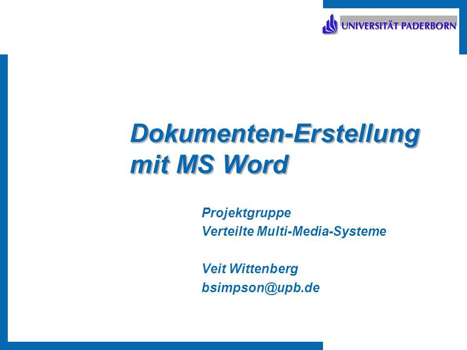 Dokumenten-Erstellung mit MS Word