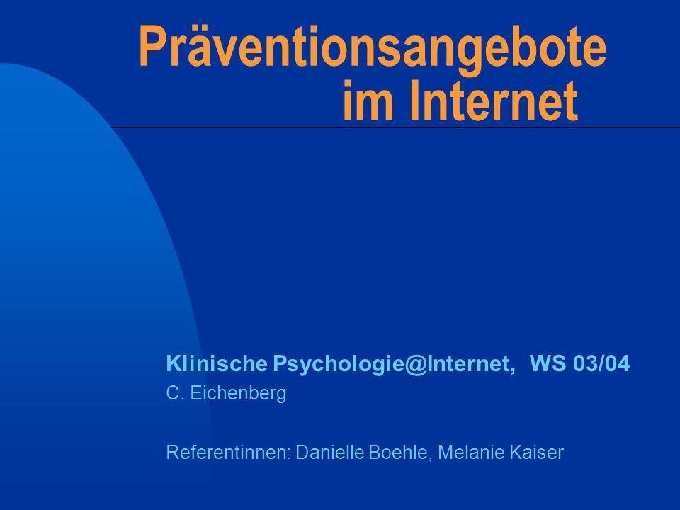 Präventionsangebote im Internet