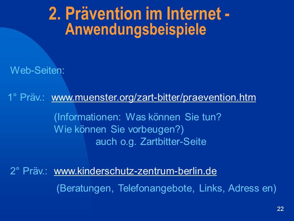 2. Prävention im Internet - Anwendungsbeispiele