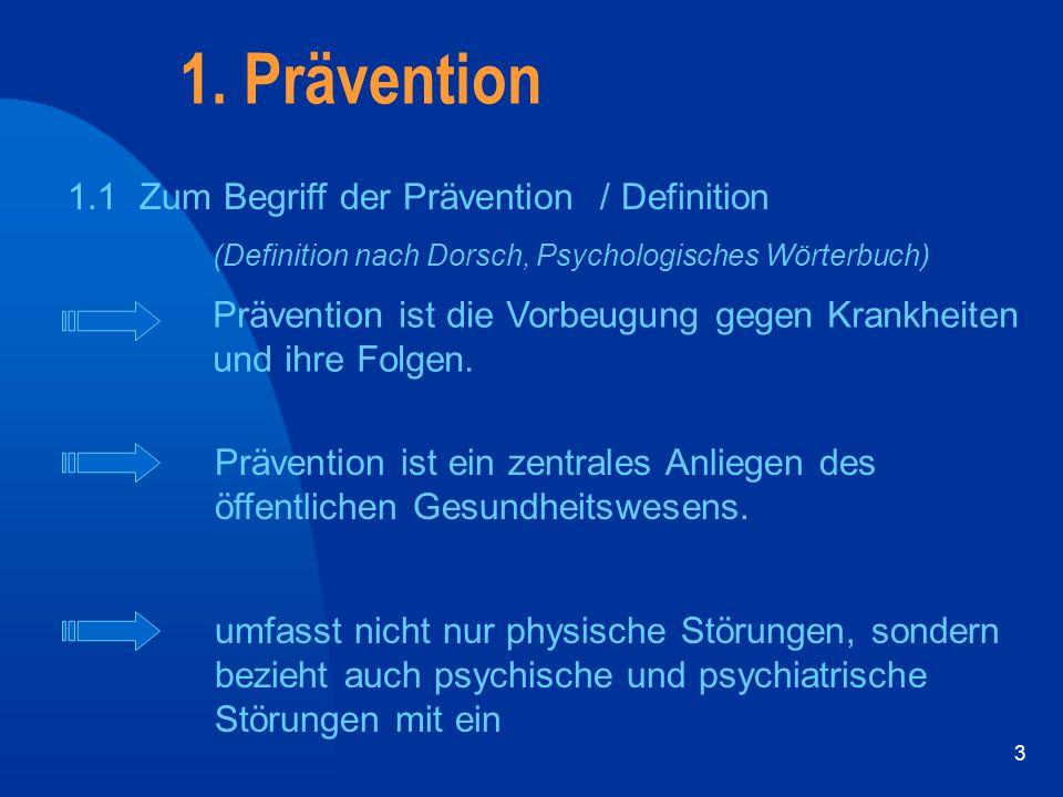 1. Prävention 1.1 Zum Begriff der Prävention / Definition