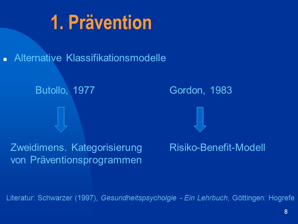 1. Prävention Alternative Klassifikationsmodelle Butollo, 1977