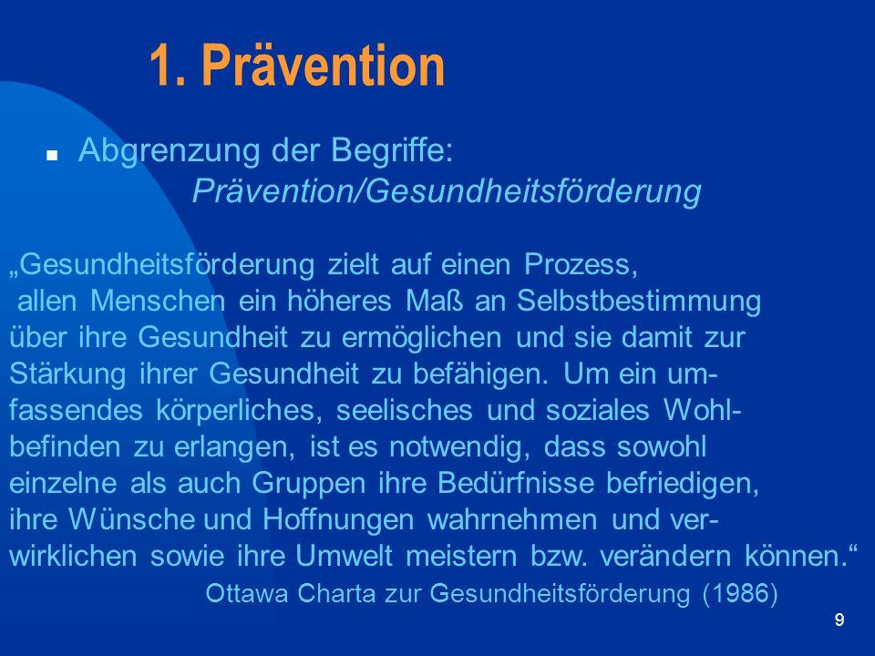 1. Prävention Abgrenzung der Begriffe: Prävention/Gesundheitsförderung