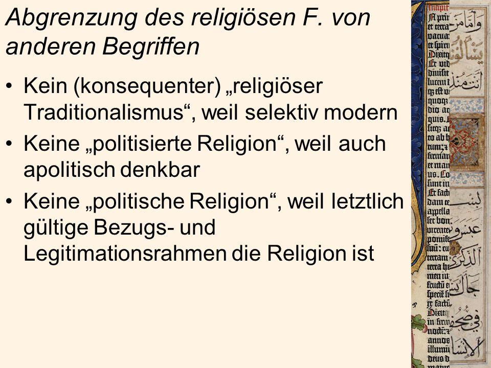 Abgrenzung des religiösen F. von anderen Begriffen