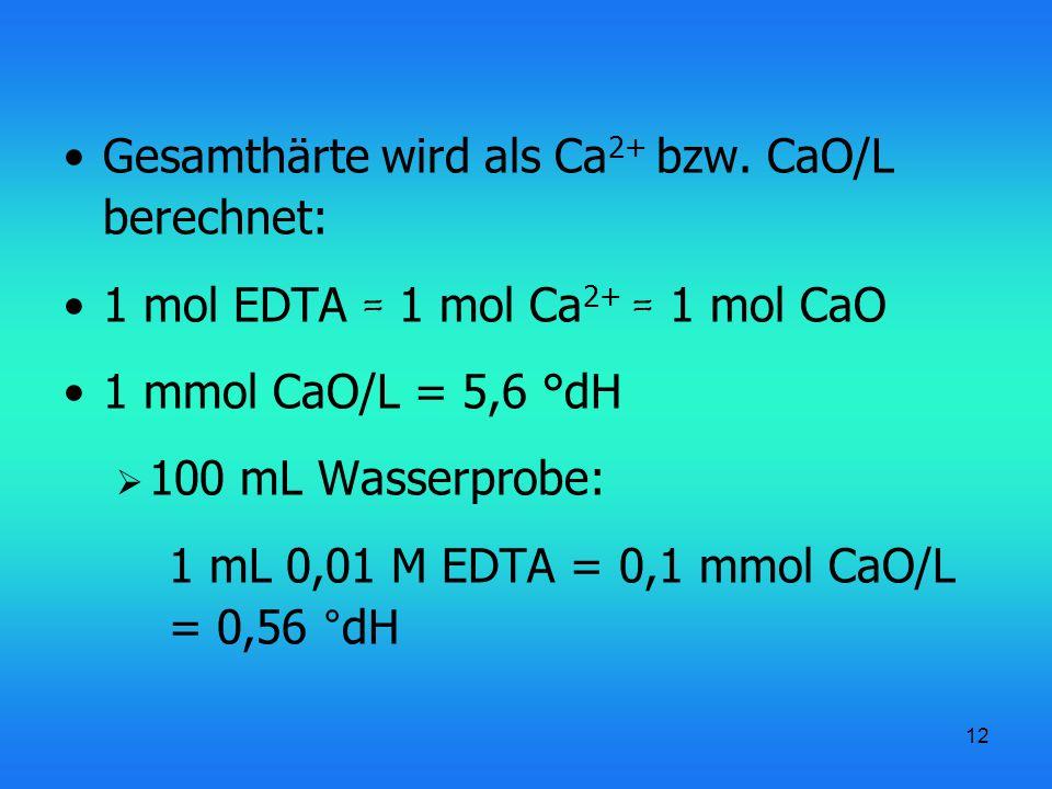 Gesamthärte wird als Ca2+ bzw. CaO/L berechnet: