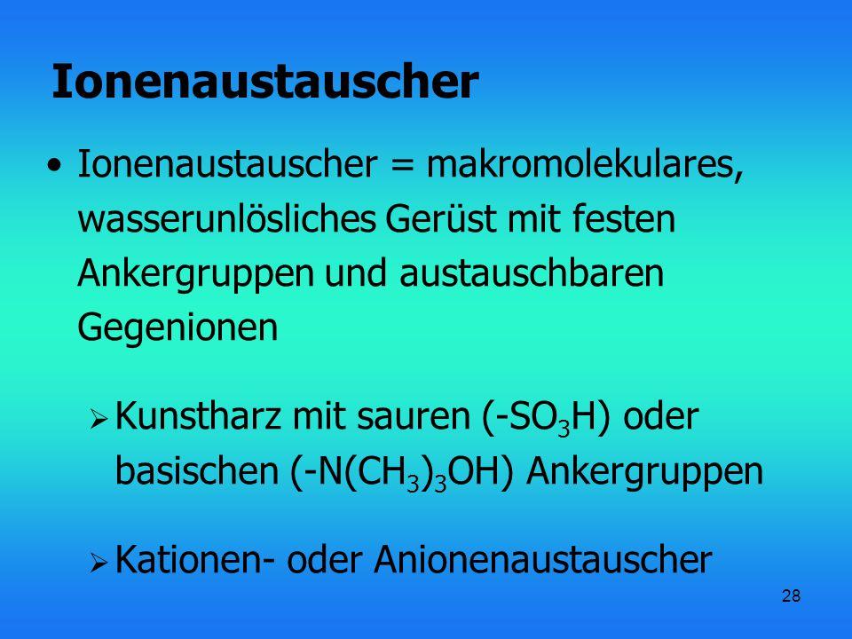 Ionenaustauscher Ionenaustauscher = makromolekulares, wasserunlösliches Gerüst mit festen Ankergruppen und austauschbaren Gegenionen.