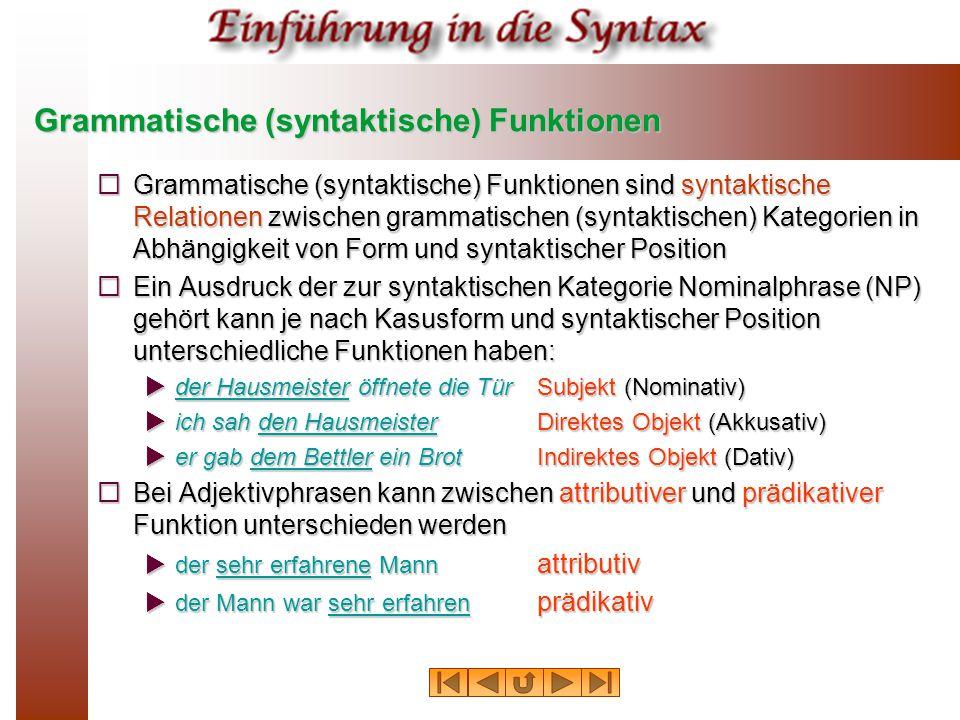 Grammatische (syntaktische) Funktionen