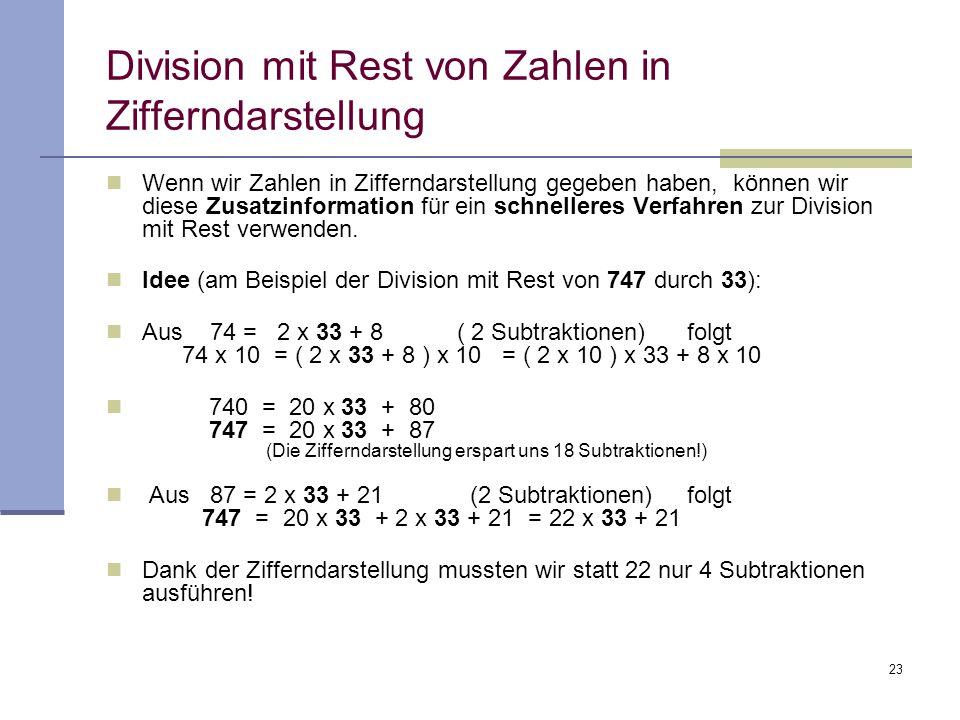 Division mit Rest von Zahlen in Zifferndarstellung