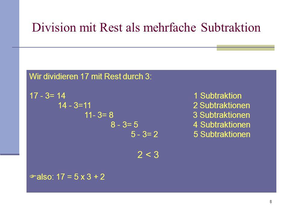 Division mit Rest als mehrfache Subtraktion