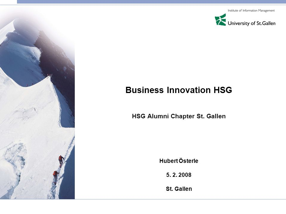 Business Innovation HSG HSG Alumni Chapter St. Gallen